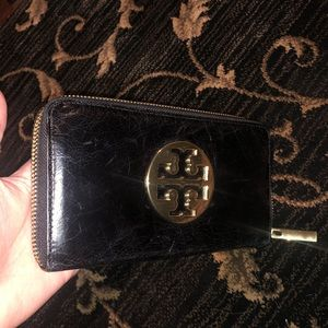 Tory Burch Whipstitch Logo Leather Wallet